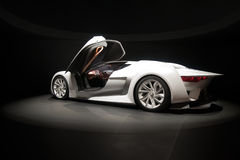 Sports car. White concept car in lights. The car was presented by Citroen on 79th International Motor Show in Geneva stock photos