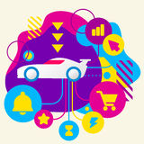 Sports car on abstract colorful spotted background with differen. T icons and elements. Flat design for the web, interface, print, banner, advertising Royalty Free Stock Photos