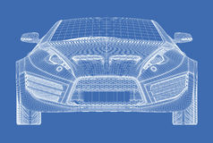 Sports car blueprint Stock Photography