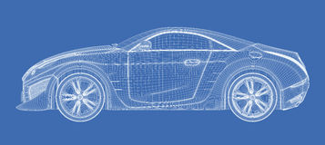 Sports car blueprint Stock Image