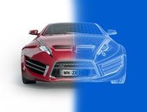 Sports car blueprint Stock Images