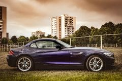 SPORTS CAR BMW Z4. The BMW Z4 is a range of two-seat roadster and coupé models which have been produced since 2002. Initially, the Z4 was produced in South Royalty Free Stock Photography
