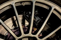 Sports car brake system. Brake system of a sports car close-up royalty free stock photography