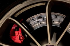 Sports car brake system. Brake system of a sports car close-up stock images