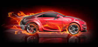 Sports car burnout Stock Photo