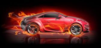 Sports car burnout. Original car design.  Logo on the car is fictitious Stock Photo