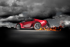 Sports car burnout. Red sports car. Original car design Royalty Free Stock Photos
