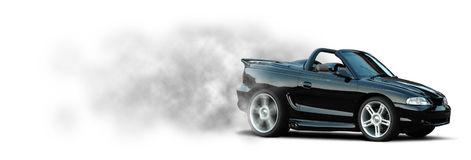 Sports Car Burnout - Mustang Stock Photo