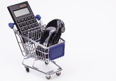 Sports car calculator and cart Royalty Free Stock Photos