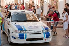 Sports car compete Prime Yalta Rally Royalty Free Stock Photography