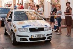 Sports car compete Prime Yalta Rally. YALTA, UKRAINE - SEPTEMBER 14, 2012: riders IATSIUK Olexiy and AKSONOV Denys from Ukraine on Skoda Fabia compete Prime Stock Photography