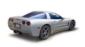 Sports car corvette. Corvette silver sports car with path Royalty Free Stock Photos