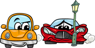 Sports car crashed cartoon illustration Royalty Free Stock Photo
