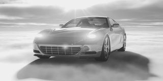 Sports car. 3d render of sports car over clouds Royalty Free Stock Photos