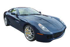 Sports car in dark blue, isolated Royalty Free Stock Image