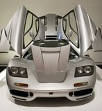 Sports Car with Doors Open. On display at automobile show stock image