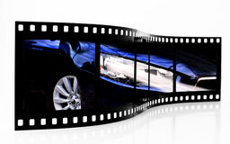 Sports car film strip Stock Photography