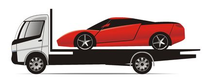 Sports car on flatbed truck. Illustration of red sports car on a white flatbed truck Stock Photography