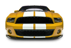 Sports Car Front View. A photograph of a American Muscle Car isolated on white. Clipping path on vehicle. See my portfolio for more vehicle images stock photography