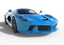 Sports car front view. The image of a sports blue car on a white background. 3d illustration. Stock Photos