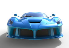 Sports car front view. The image of a sports blue car on a white background. 3d illustration. Royalty Free Stock Image