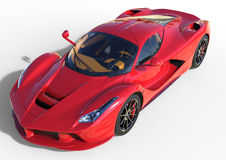 Sports car front view. The image of a sports red car on a white background. 3d illustration. Royalty Free Stock Photo