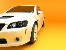 Sports car front view. The image of a sports white car on a gold background. Royalty Free Stock Photography