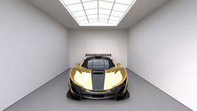 Sports car front view. The image of a sports yellow car on a studio room. 3d illustration. Stock Photography