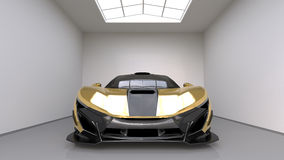 Sports car front view. The image of a sports yellow car on a studio room. 3d illustration. Stock Photo