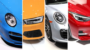 Sports car head lamps collage Royalty Free Stock Images