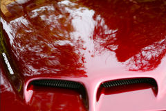 Sports car hood. In red Stock Photo