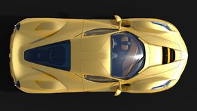 Sports car. The image of a sports yellow car on a black background. 3d illustration. Stock Images