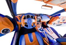 Sports car interior. Abstract wide view of tuned car interior Royalty Free Stock Image