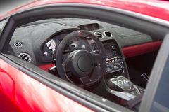 Sports car interior in swede leather Royalty Free Stock Image