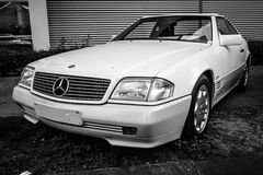 Sports car Mercedes-Benz 300SL (R129). BERLIN - MAY 10, 2015: Sports car Mercedes-Benz 300SL (R129). Black and white. 28th Berlin-Brandenburg Oldtimer Day Stock Photo