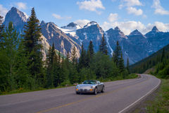 Sports car, moraine lake road Stock Photos