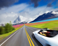 Sports car in motion blur royalty free stock photo
