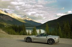 Sports Car in the Mountains Stock Photo