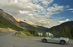 Sports Car in the Mountains Stock Images