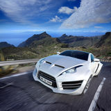 Sports car moving on the road stock photos