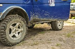 Sports car offroad for participation in the competition for dirt. And sand and water royalty free stock images