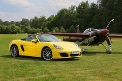 A sports car Porche BOXTER S, YELLOW. Shot on airport Hertelendy, 26 June 2012, Hungary. Royalty Free Stock Photo