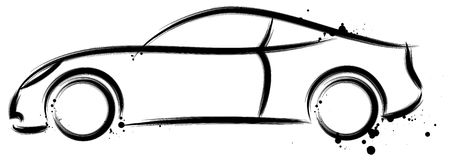 Sports Car Profile. An illustrated sketch of a sports car vector illustration