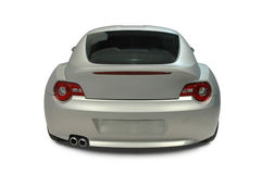 Sports Car Rear View. Rear view of a German Sports Car. Vehicle has clipping path, excluding shadow. See my portfolio for more automotive images royalty free stock image