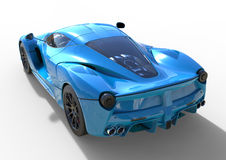 Sports car rear view. The image of a sports blue car on a white background. 3d illustration. Royalty Free Stock Photography