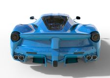 Sports car rear view. The image of a sports blue car on a white background. 3d illustration. Royalty Free Stock Photo