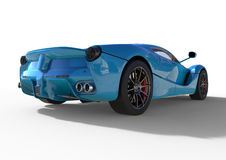 Sports car rear view. The image of a sports blue car on a white background. 3d illustration. Stock Images