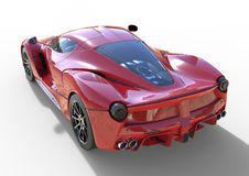 Sports car rear view. The image of a sports red car on a white background. 3d illustration. Royalty Free Stock Images