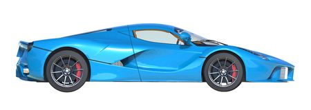 Sports car right view. The image of a sports blue car on a white background. 3d illustration. Royalty Free Stock Images