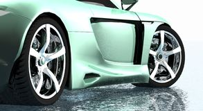 Sports car rims. Slick ride with green paint job Stock Images